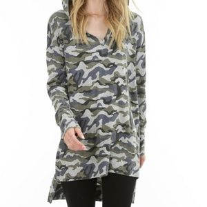 bobi Tops - Camo Hooded Tee
